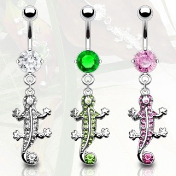 Gem Lizard Navel Ring Belly Dangle
