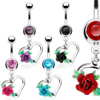 Gem Heart Flower Dangle