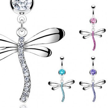 Gem Dragonfly Belly Ring Navel Dangle