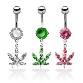 Gem Pot Leaf Belly Bar Navel Dangle