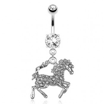 Gem Horse Navel Ring Belly Dangle