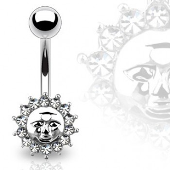 Gem Sun Face Belly Bar Navel Ring