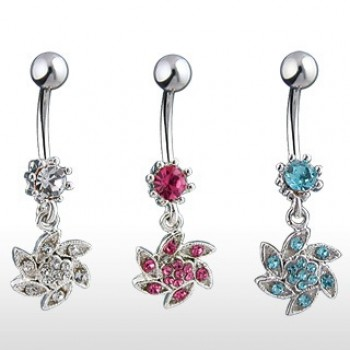 Swirl Flower Belly Bar Navel Dangle