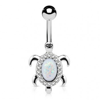 Gem Turtle Belly Bar Navel Ring