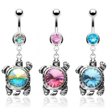 Gem Turtle Belly Bar Navel Dangle