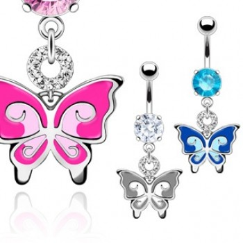 Gem Butterfly Belly Dangle