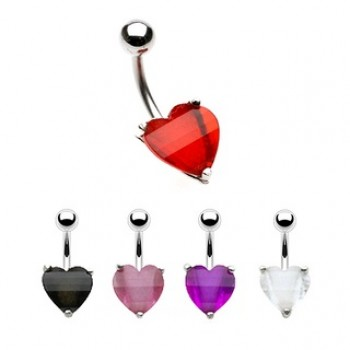 Glitter Stone Love Heart Belly Bar Navel Ring