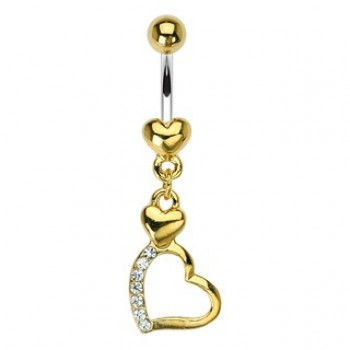 Gold Plated Heart Navel Ring Belly Dangle