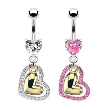 Gold Heart Navel Dangle