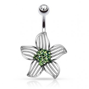 CZ Flower Navel Ring Belly Bar