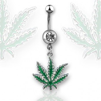 Pot Leaf Navel Dangle