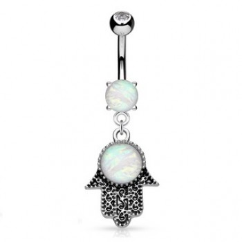 Hamsa Hand Belly Ring Navel Dangle