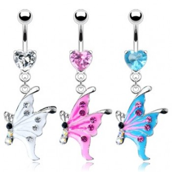 Gem Heart Butterfly Dangle