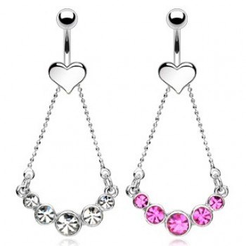 Love Heart Chain CZ Belly Bar Navel Dangle