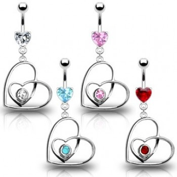 Heart Within Heart Navel Dangle