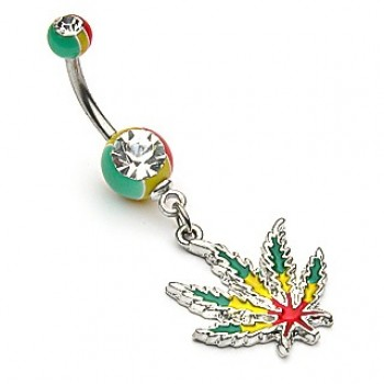 Jamaican Pot Leaf Navel Ring Belly Dangle