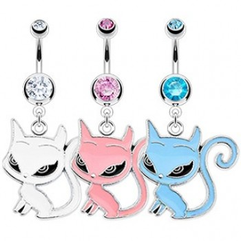 Cat Belly Bar Ring Navel Dangle