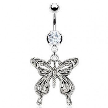 CZ Vintage Butterfly Belly Ring Navel Dangle