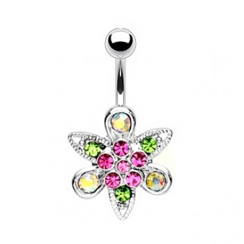 Gem Flower Belly Bar Navel Ring
