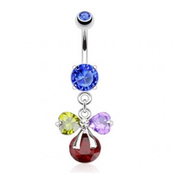 Gem Ribbon Belly Ring Navel Dangle