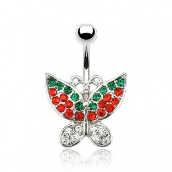 CZ Butterfly Belly Bar Navel Ring