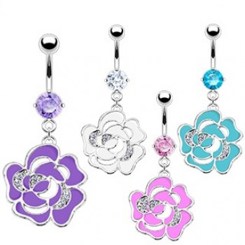 CZ Flower Navel Dangle