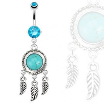 Dream Catcher Belly Ring Bar Navel Dangle