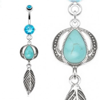 Turquoise Leaf Belly Bar Navel Dangle