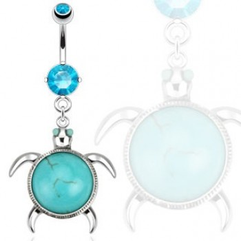Turquoise Turtle Belly Ring Navel Dangle