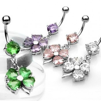 Four Leaf Clover Navel Ring Belly Dangle