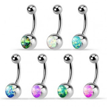 Opal Stone Belly Bar Navel Ring