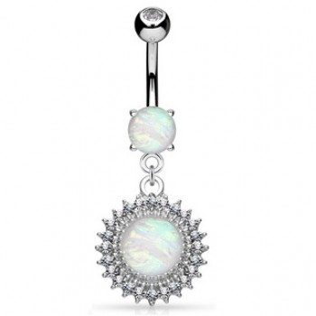 Opal Sun Belly Bar Navel Dangle