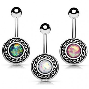 Opal Shield Belly Bar Navel Ring