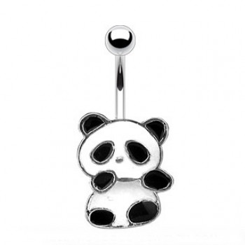 Dangling Panda Navel Ring Belly Bar