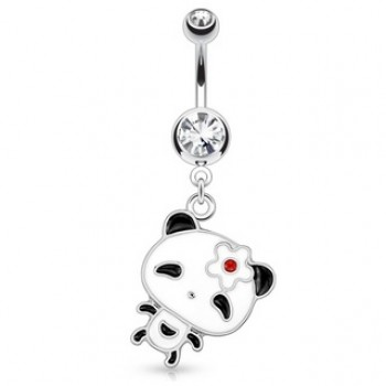 Panda Flower Navel Bar Belly Dangle