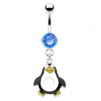 Blue CZ Penguin Dangle