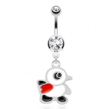 Penguin Bird Belly Bar Navel Dangle