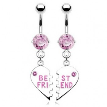 Pair Best Friend Belly Bar Navel Dangle