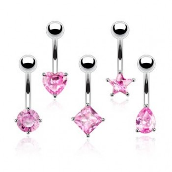 Pink CZ Shape Belly Bar Navel Ring