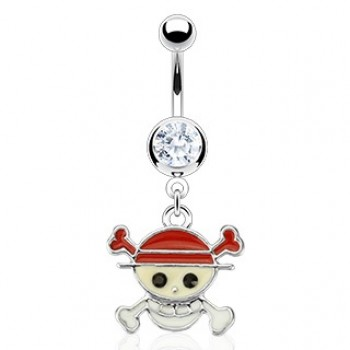 Pirate Skull Belly Ring Navel Dangle