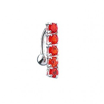Red Reverse Gem Drop Belly Bar Navel Ring