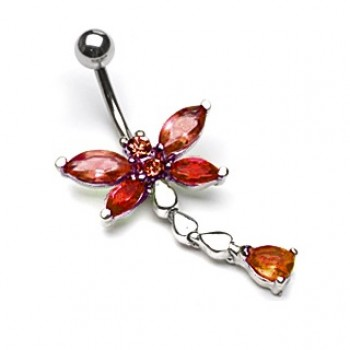 CZ Dragonfly Navel Ring Belly Dangle