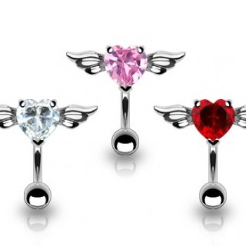 Reverse Wing Love Heart Navel Bar Belly Ring