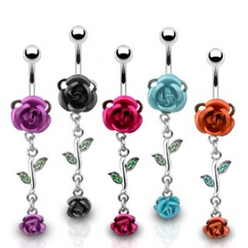 Rose Flower Belly Ring Navel Dangle