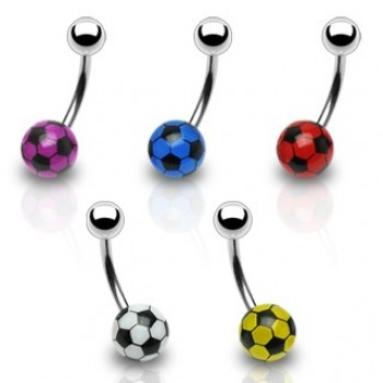 Soccer Ball Navel Ring