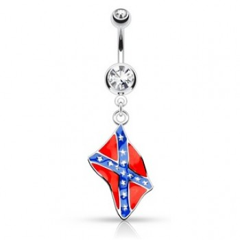 Rebel Flag Navel Bar Belly Dangle