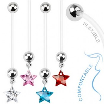 Pregnancy Star Gem Navel Ring Belly Dangle