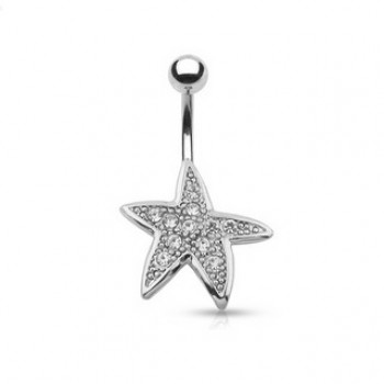 Pave Gem Starfish Navel Ring Belly Bar