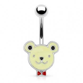 Teddy Bear Face Navel Ring Belly Bar