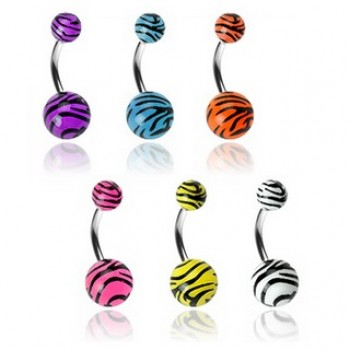 Tiger Print Navel Ring Belly Bar